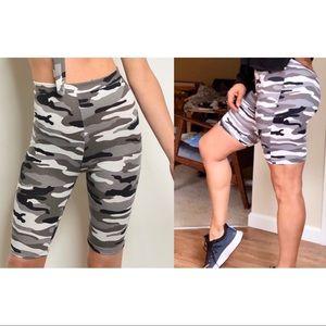 Gray & white, black camo biker shorts, NEW!